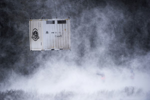 An air–lifted shipping container that took the bison to their new location. Photo courtesy of ibtimes.co.uk.