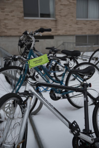 UWSP and city of Stevens Point now enforcing paid bike parking. Photo by Ross Vetterkind