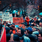 """People gather together to protest against the Enbridge Pipeline. """"Say NO to Enbridge"""" by Chris Yakimov is licensed under CC BY 2.0."""