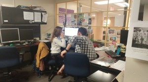 Nellie DeLain and Robby Abrahamian at work in the SGA office. Photo courtesy of Samantha Stein.