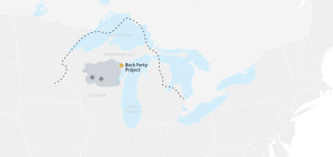 A map of the Back Forty Project. Image from Aquila Resources website.