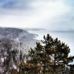 A snowy evening over Lake Superior. Photo courtesy of Taylor Drake.