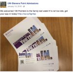 UWSP admissions social media blasts. Photo by Nomin Erdenebileg