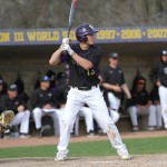 Tyler Thomka up to bat for the Pointers. Photo courtesy of UWSP Athletics.