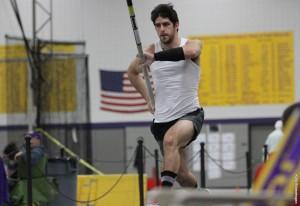 Jesse Johnson builds speed before vaulting. Photo courtesy of Kylie Bridenhagen.