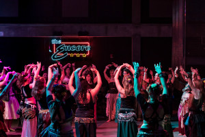 The entire belly dancing troupe dancing in unison as Salaam took a break. Photo by Ross Vetterkind