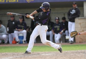 A UWSP Pointer bats during a game. Photo courtesy of UWSP Athletics.