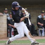 A Pointer player takes a swing. Photo courtesy of UWSP Athletics.