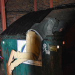 Unidentified student dumpster diving for some pizza late at night. Photo by Nomin Erdenebileg