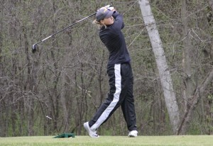 Pointer golfer Bailey Ryan tees off. Photo courtesy of UWSP Athletics.
