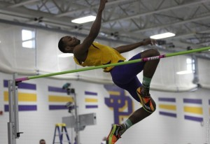 Christian Ferguson jumps during a meet. Photo courtesy of UWSP Athletics.