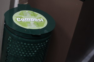 Compost bins can be found around campus in the academic buildings. Photo courtesy of Dalen Dahl.